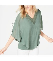 jm collection t crochet-neck gauze top, created for macy's