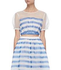 'frieze' sheer collar stripe elastic hem crop top
