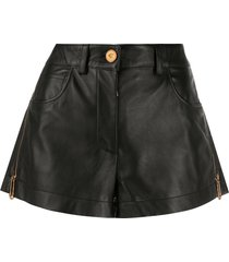 black leather zipped shorts
