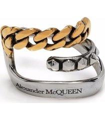 alexander mcqueen punk logo-engraved chain-detail single ear cuff
