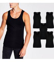 river island mens black muscle fit vest 5 pack