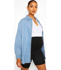 maternity oversized denim shirt, light blue