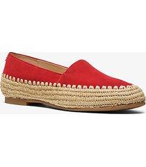 mk calzatura bassa bahia in pelle scamosciata e iuta - rosso brillante (rosso) - michael kors
