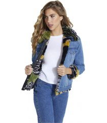 chaqueta denim fur jacket mwa denim guess