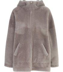 blancha merino straight hooded sweatshirt w/zip