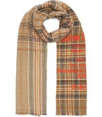 tartan check print wool scarf