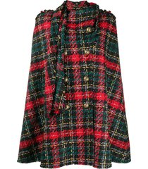 balmain tartan-pattern tweed cape - black