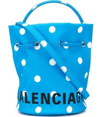 balenciaga wheel xs drawstring bucket bag - blue