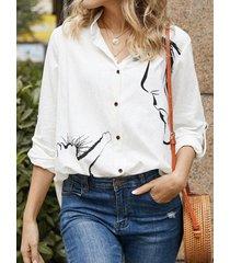 camicetta casual a maniche lunghe con bottoni a forma di gatto carino per donna