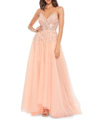 mac duggal women's embellished tulle gown - peach - size 8