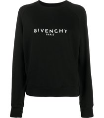 givenchy antique-effect logo print sweatshirt - black
