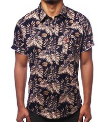 camisa camaleão urbano folhagem tropical ouro masculina - masculino
