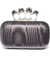 jewelled moire satin knuckle clutch
