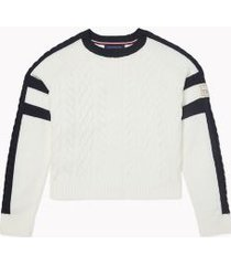 tommy hilfiger women's essential cable-knit sweater ivory / sky captain - xs