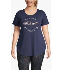 lane bryant women's active whatever you want foil graphic tunic 26/28 navy