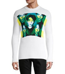 kenzo men's graphic rib-knit pullover - white - size m