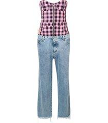natasha zinko bustier top and jeans jumpsuit - pink