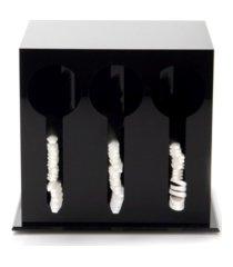 mind reader 3 compartment plastic utensil dispenser, cutlery organizer, plasticware sorter for restaurant, diner, picnics