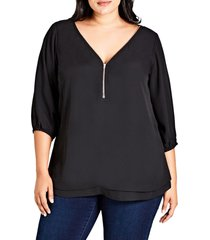 plus size women's city chic sexy fling zip front top, size small - black