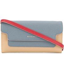 marni colour-block crossbody wallet - blue