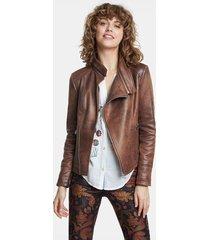 biker jacket embossed back - brown - 44