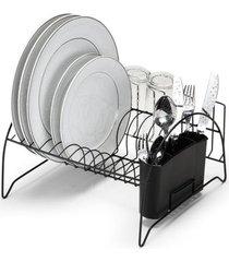 escorredor de louça arthi em aço cromado preto