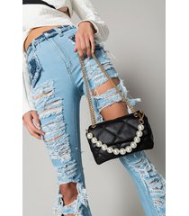 akira pearls please quilted pleather purse
