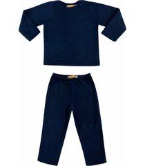 conjunto de pijama em soft grosso douvelin marinho - azul marinho - poliã©ster - dafiti