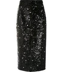 nº21 crystal-embellished sequin pencil skirt - black