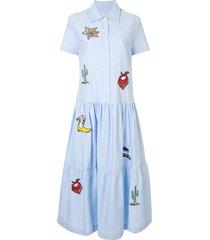 mira mikati embroidered flared shirt dress - blue