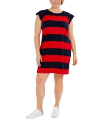 tommy hilfiger plus size striped lace-sleeve rugby dress, created for macy's