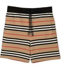 burberry icon stripe jersey cotton shorts