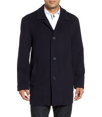 men's cole haan italian wool blend overcoat, size xx-large - blue
