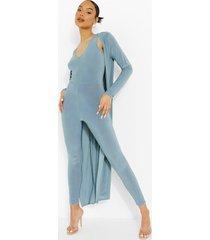 jumpsuit met laag decolleté en duster jas set, slate blue