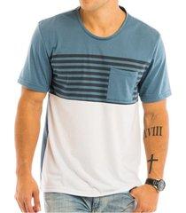 camiseta masculina com recorte estampado e bolso quadrado - area verde - multicolorido - masculino - dafiti