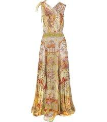 etro long silk dress with ornamental print