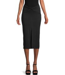 lea & viola women's twist-waist pencil skirt - black - size m