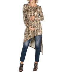 24seven comfort apparel long sleeve asymmetric hem snake print maternity top