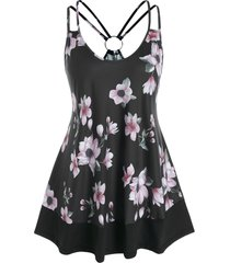 plus size floral print o ring swing tank top
