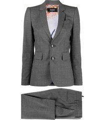 micro-pattern two-piece suit