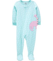 carter's toddler girl 1-piece dinosaur fleece footie pjs