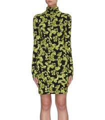 delora' printed turtleneck mini dress