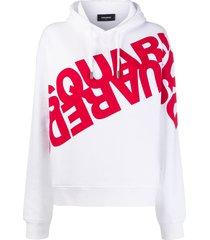 dsquared2 mirrored logo hoodie - white