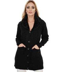 casaco livora sobretudo gola pele botões feminina - feminino