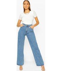 jeans met wijde pijpen en hoge taille, middenblauw
