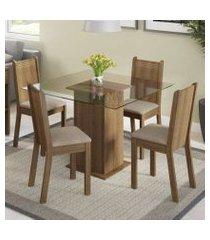 conjunto sala de jantar magda madesa mesa tampo de vidro com 4 cadeiras tabaco/pérola/bege marrom