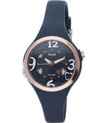 las vegas - orologio cinturino blu in policarbonato, ghiera e dettagli oro per donna