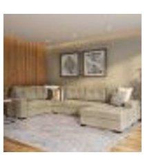 sofá de canto 6 lugares com chaise direito lilles suede animale cinza