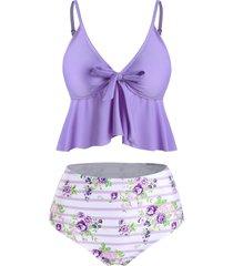 striped flower bowknot peplum tankini swimwear