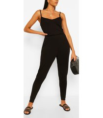 basic cami strappy jumpsuit, black
